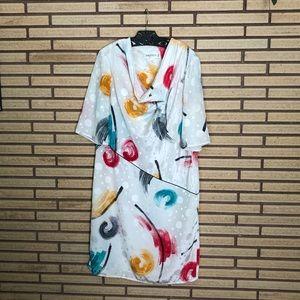 80's Warren Z Cowl Neck Dress - 8